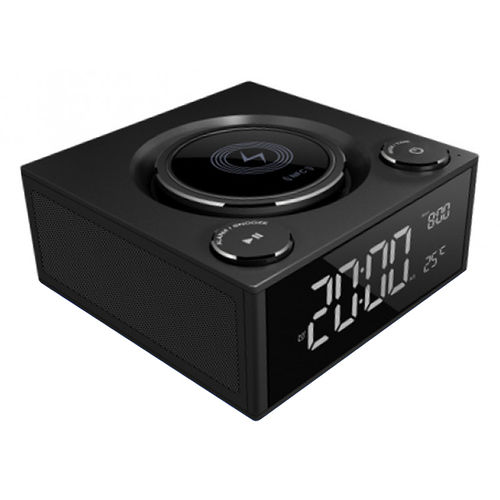 Qi Wireless Charging Alarm Clock Radio / 3x USB / Bluetooth Speaker